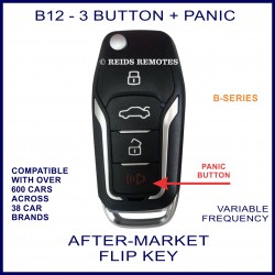 B12 black 3 button with PANIC B-Series standard transmitter flip-key