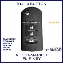 B14 black 3 button B-Series standard transmitter flip-key