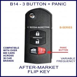 B14 black 3 button plus Panic B-Series standard transmitter flip-key