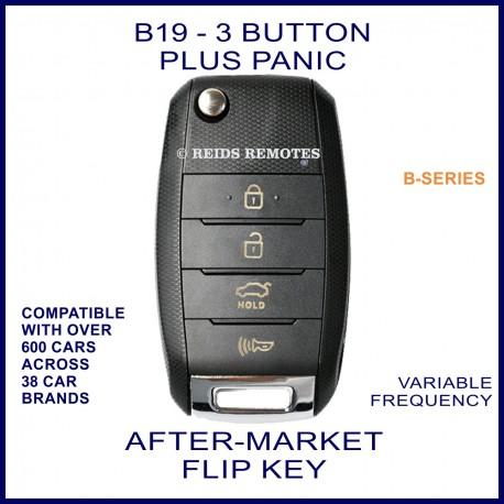 B19 black 3 button plus PANIC B-Series standard transmitter flip-key