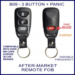 B09 black 3 button + panic B-Series standard transmitter remote