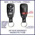 B09 black 3 button + panic B-Series standard transmitter remote