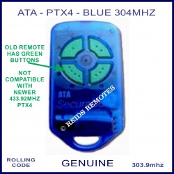 ATA PTX4 -obsolete 304Mhz blue garage remote with 4 green buttons