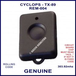 Cyclops TX-04 1 round black button black car alarm remote