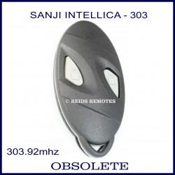 Sanji Intellica 303mhz 2 grey button oval black car alarm remote