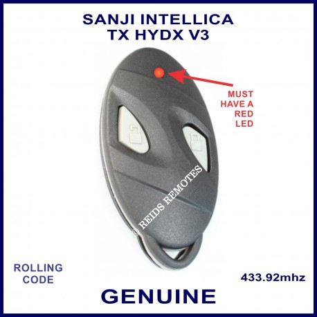 Sanji Intellica TX HYDX V3 433MHZ 2 grey button oval black car alarm remote