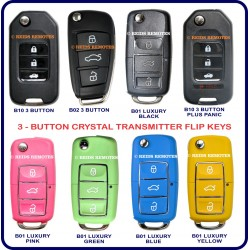 Generic 3 button crystal transmitter flip-key options