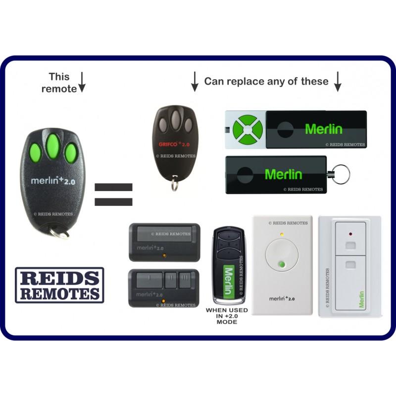 Merlin 2 0 E950m 4 Green Button Slider Garage Remote