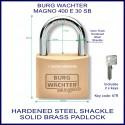 Burg Wachter Magno 400 E 30mm SM solid brass hardened steel shackle padlock