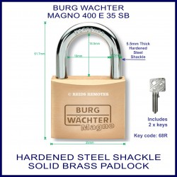 Burg Wachter Magno 400 E 35mm SM solid brass hardened steel shackle padlock
