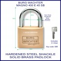 Burg Wachter Magno 400 E 45 mm SM solid brass hardened steel shackle padlock