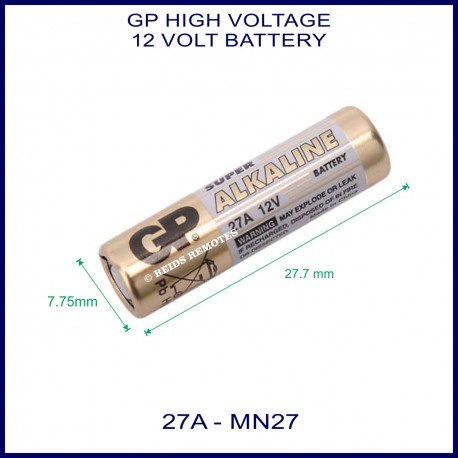 GP Ultra 27A 12V Alkaline battery for use in remote control