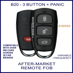 B20 black 3 button + panic B-Series standard transmitter remote