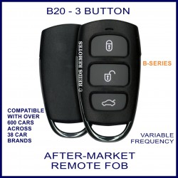 B20 black 3 button B-Series standard transmitter remote