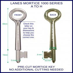 Lanes 1000 Series pre-cut mortice lock key A - H