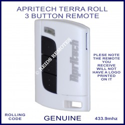Apritech Terra Roll 3 black button white garage & gate remote control
