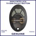 Sanji Intellica TX SAN-CH V4 433MHZ 3 grey button oval black car alarm remote