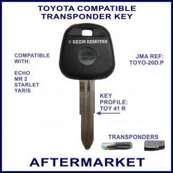 Toyota Echo - MR2 - Starlet - Yaris compatible car key with transponder cloning & key cutting
