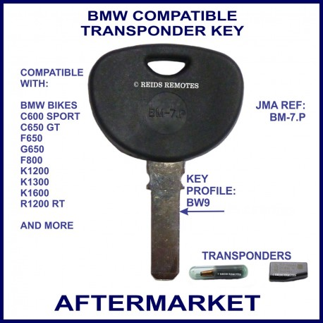 BMW compatible motorcycle key with transponder cloning & key cutting