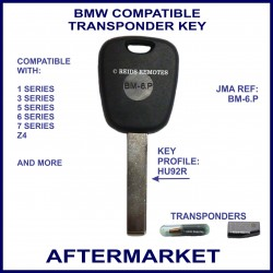 BMW 1, 3, 5, 6, 7 series, X5 & Z4 compatible car key with transponder cloning & key cutting