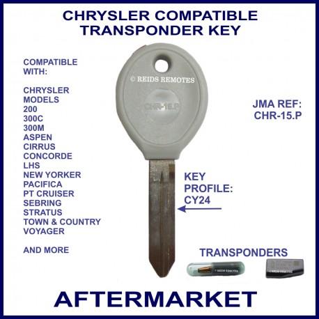Chrysler 300C - PT Cruiser - Sebring - Voyager compatible car key with transponder cloning & key cutting
