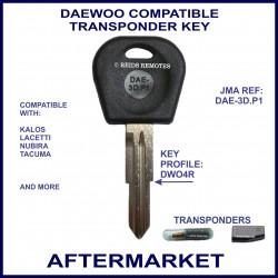 Daewoo Kalos - Lacetti - Nubira - Tacuma compatible car key with transponder cloning & key cutting