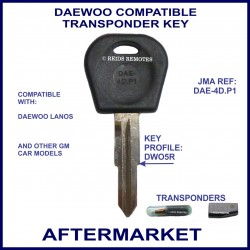 Daewoo Lanos 1997 - 2004 compatible car key with transponder cloning & key cutting