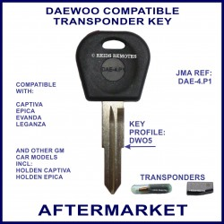 Daewoo Captiva, Epica & Leganza compatible car key with transponder cloning & key cutting