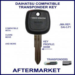 Daihatsu Cuore & Move compatible car key with transponder cloning & key cutting