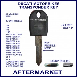 Ducati motorcycles compatible key with transponder cloning & key cutting