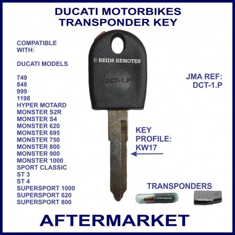 Ducati motorcycles compatible transponder key cut & cloned in store