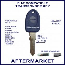 Fiat Cinquecento Coupe Punto key with transponder cloning & key cutting