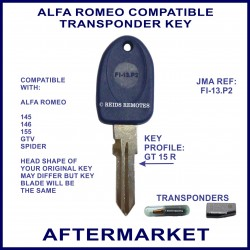 Alfa Romeo 145 - 146 - 155 - GTV & Spider key with transponder cloning & key cutting