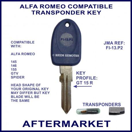Alfa Romeo 145 - 146 - 155 - GTV & Spider key with transponder cloning & key cutting
