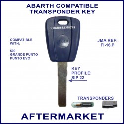 Abarth 500, Grande Punto & Punto Evo car key with transponder cloning & key cutting