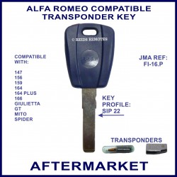 Alfa Romeo 147 156 159 164 166 Giulietta Mito & Spider car key with transponder cloning & key cutting