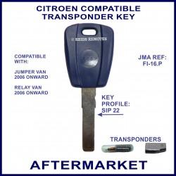 Citroen Jumper Van & Relay van, key with transponder cloning & key cutting
