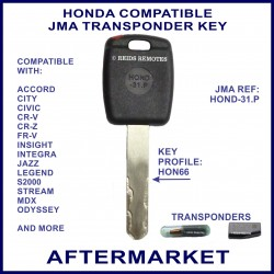Honda Accord Civic CR-V CR-Z Integra Jazz MDX & Odyssey car key cut & cloned