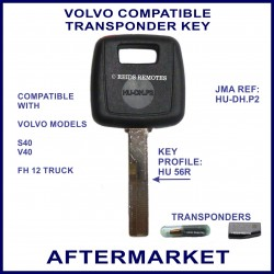 Volvo S30 V40 compatible transponder car key cut & cloned