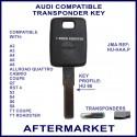 Audi A2, A3, A4, A6, A6, Cabrio, Q7, RST4, S3,S4,S6,S8 & TT transponder car key cut & cloned
