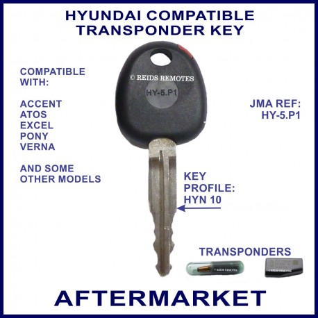 Hyundai Accent & Excel compatible transponder car key cut & cloned