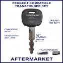 Peugeot 4007 compatible car key MIT-8D.P1 cut & transponder cloned