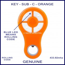 KEY Orange rolling code garage & gate remote 4 grey buttons