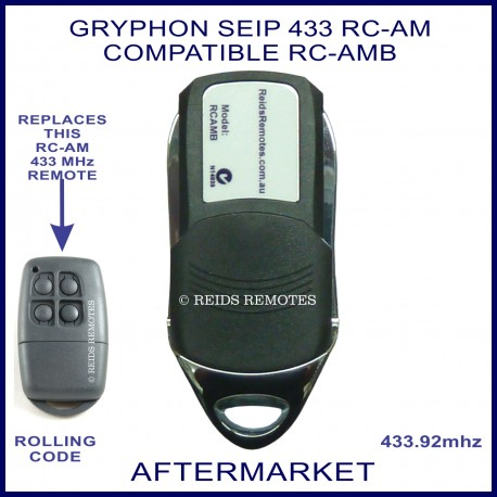 Seip Gryphon Compatible 433 Rc Am Black 4 Button Garage