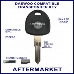 Daewoo Espero car key with transponder cloning & key cutting