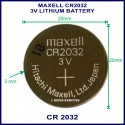 Maxell CR2032 3V Lithium battery for use in remote control