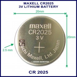 Maxell CR2025 3V Lithium battery for use in remote control