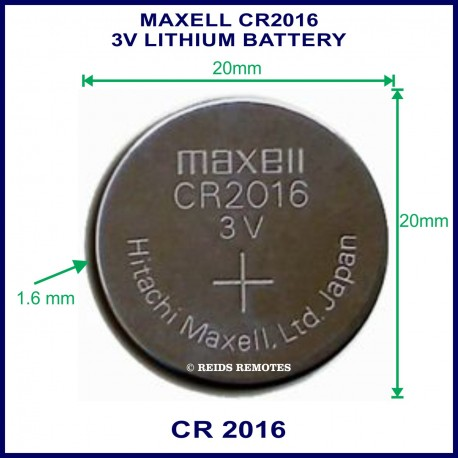 Maxell CR2016 3V Lithium battery for use in remote control