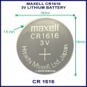 Maxell CR1616 3V Lithium battery for use in remote control