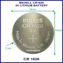 Maxell CR1620 3V Lithium battery for use in remote control